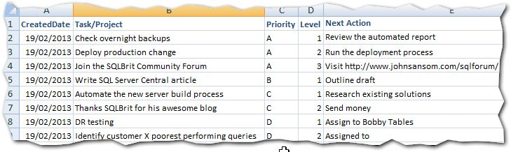 Task Log Example